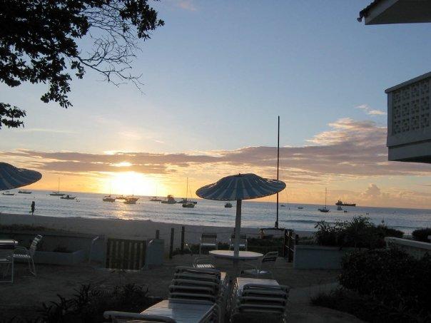 Tropical Barbados sunset at Nautilus Beach Apartments